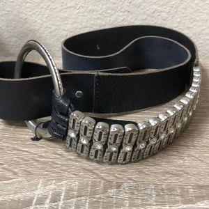 Antoniazzi Firenze Black leather belt w/metal sz L